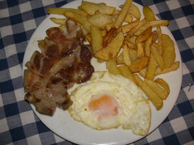 plato de huevos fritos con patatas y carne