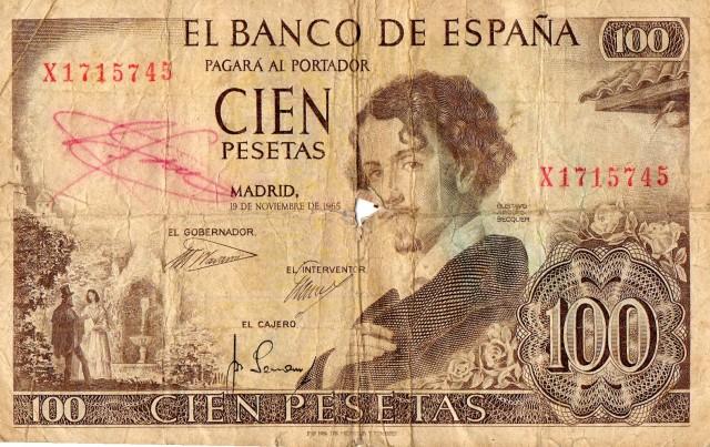 billete de cien pesetas de gustavo adolfo becker