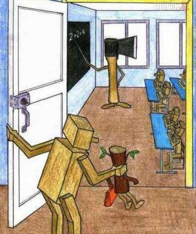 hacha y tronco alumno
