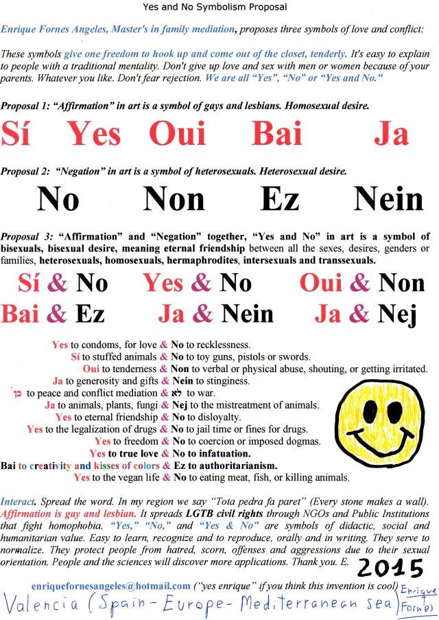 Yes and No Symbolism Proposal. Propuesta de simbología Sí y No. Sí & No, Yes & No, Oui & No, Ja & Nein, Ja & Nej, Bai & Ez, afirmación y negación, separadas y juntas, en todos los idiomas o formas de expresión.