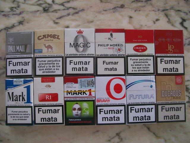paquetes de tabaco marcas